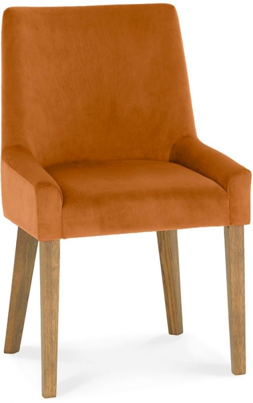 Bentley Designs Ella Light Oak Harvest Pumpkin Velvet Fabric Scoop Back Chair (Pair)