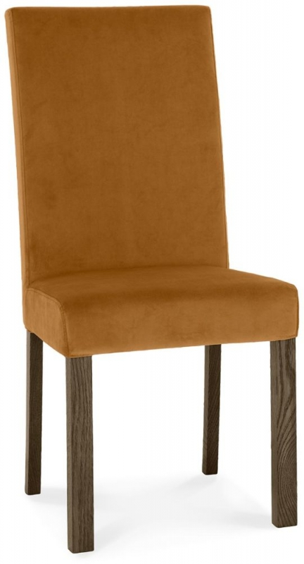 Bentley Designs Parker Dark Oak Harvest Pumpkin Velvet Fabric Square Back Chair (Pair)