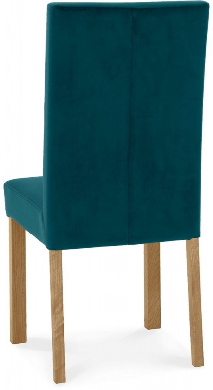 Bentley Designs Parker Light Oak Sea Green Velvet Fabric Square Back Chair (Pair)