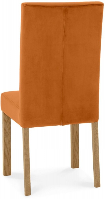 Bentley Designs Parker Light Oak Harvest Pumpkin Velvet Fabric Square Back Chair (Pair)