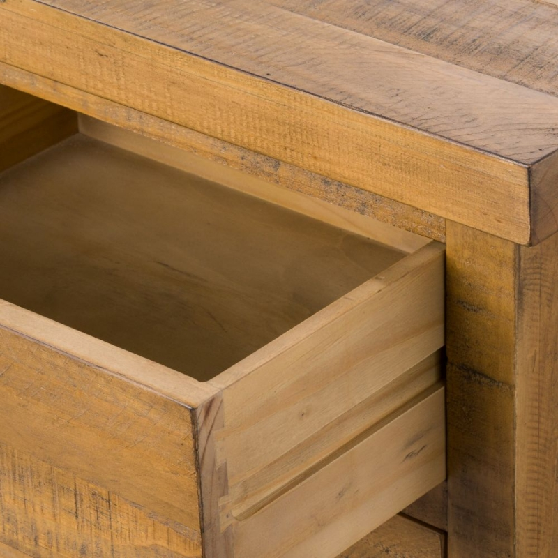 Hill Interiors Deanery Solid Rustic Pine 3 Drawer Bedside Cabinet