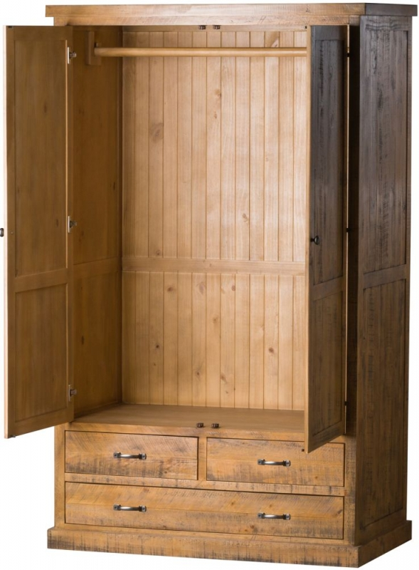 Hill Interiors Deanery Solid Rustic Pine 2 Door 3 Drawer Double Wardrobe