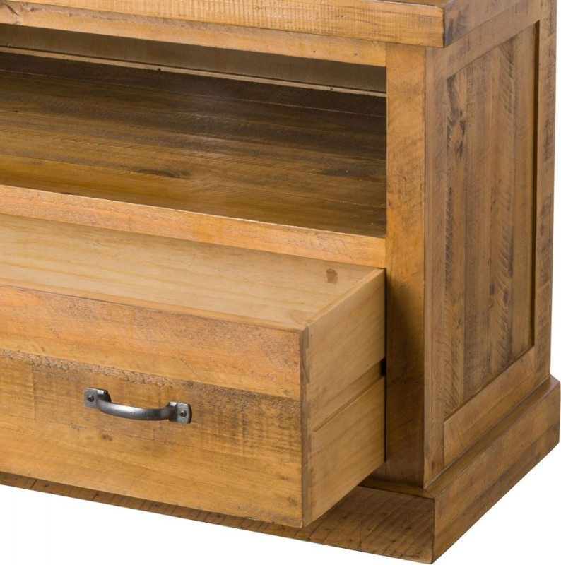 Hill Interiors Deanery Solid Rustic Pine 1 Drawer Corner TV Unit