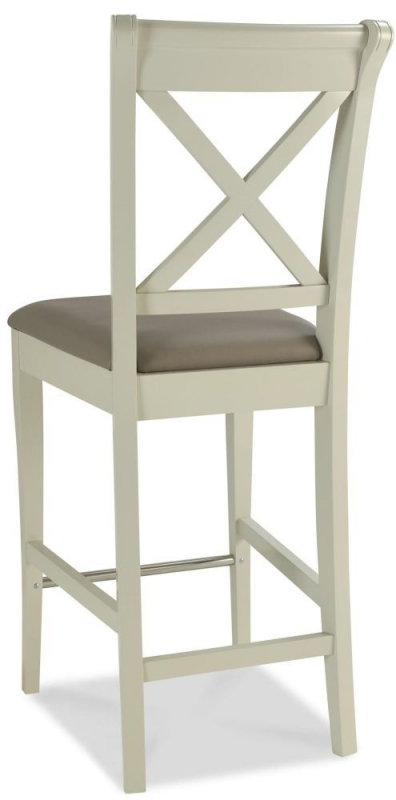Bentley Designs Hampstead Soft Grey X Back Bar Stool with Olive Grey Bonded Leather Seat (Pair)