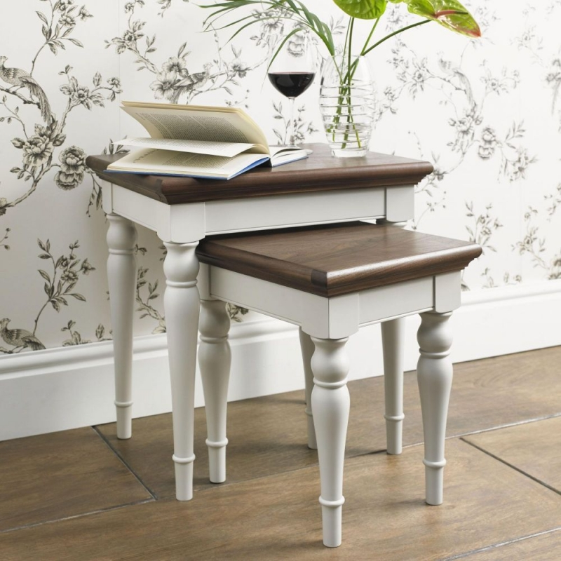 Bentley Designs Hampstead Soft Grey and Walnut Nest of 2 Lamp Tables