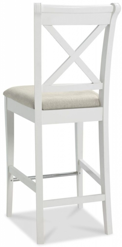 Bentley Designs Hampstead Two Tone X Back Bar Stool with Sand Colour Fabric Seat (Pair)
