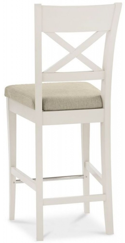 Bentley Designs Montreux Antique White X Back Bar Stool with Sand Colour Fabric Seat (Pair)