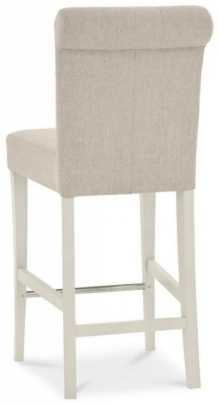 Bentley Designs Montreux Antique White and Sand Colour Fabric Upholstered Bar Stool (Pair)