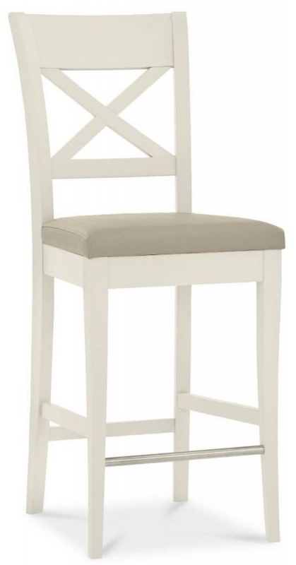 Bentley Designs Montreux Antique White X Back Bar Stool with Ivory Bonded Leather Seat (Pair)
