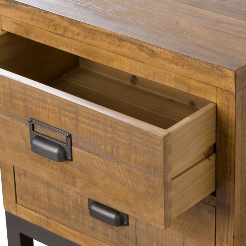 Hill Interiors Draftsman Solid Pine 2 Drawer Bedside Cabinet