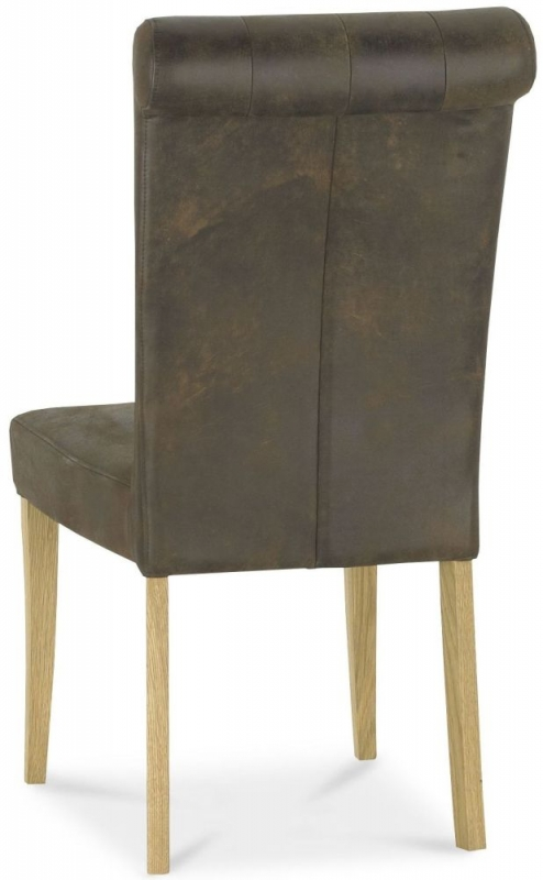 Bentley Designs Turner Distressed Bonded Leather Rollback Upholstered Dining Chair (Pair)