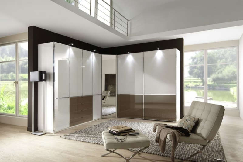 Wiemann VIP Shanghai Corner Wardrobe with Chrome Color Trim