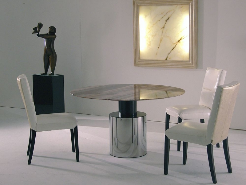 Stone International Athena Marble Round Dining Table with Polished Steel Base