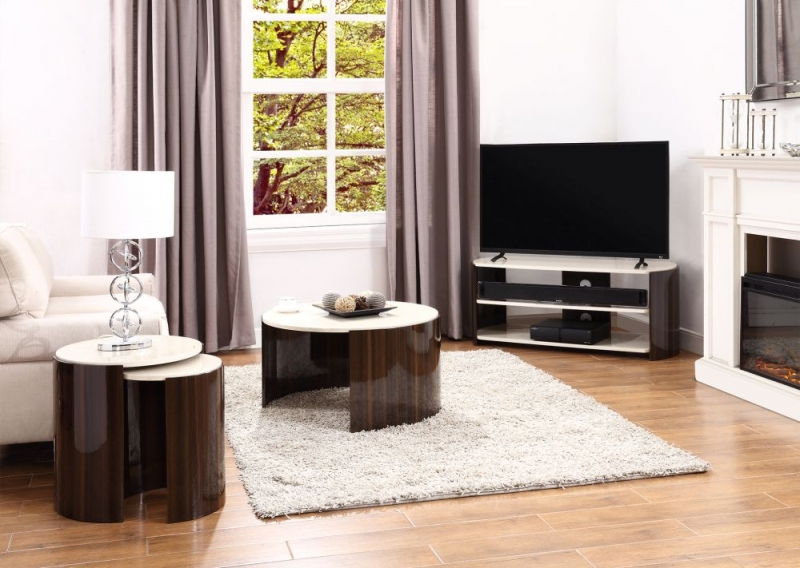 Jual Milan Walnut and Cream High Gloss TV Stand JF901