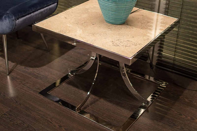 Stone International Aurora Steel Marble Lamp Table with Polished Stainless Steel Base