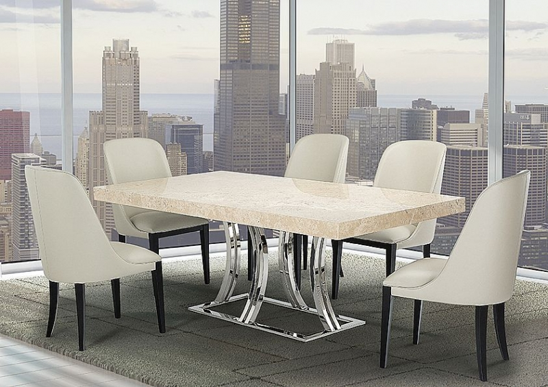 Stone International Aurora Steel Marble Rectangular Dining Table with Polished Stainless Steel Base