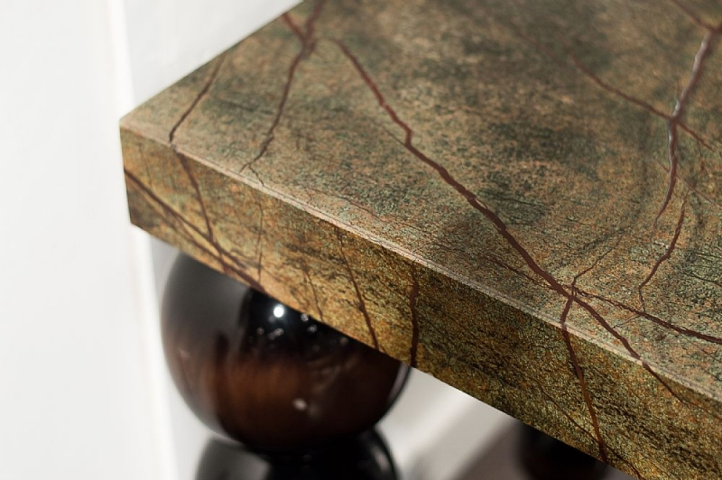 Stone International Bubble Marble Console Table with Antique Brown Legs