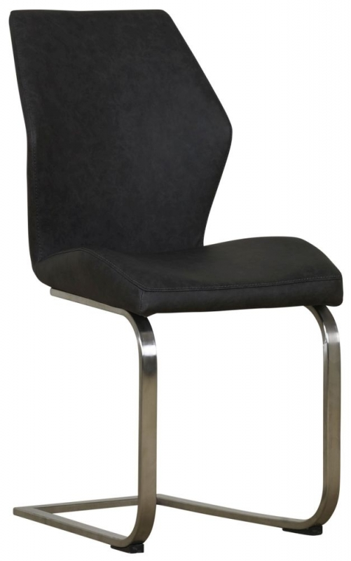 Mark Webster Bergamo Antique Grey Faux Leather Dining Chair with Brushed Steel Legs (Pair)