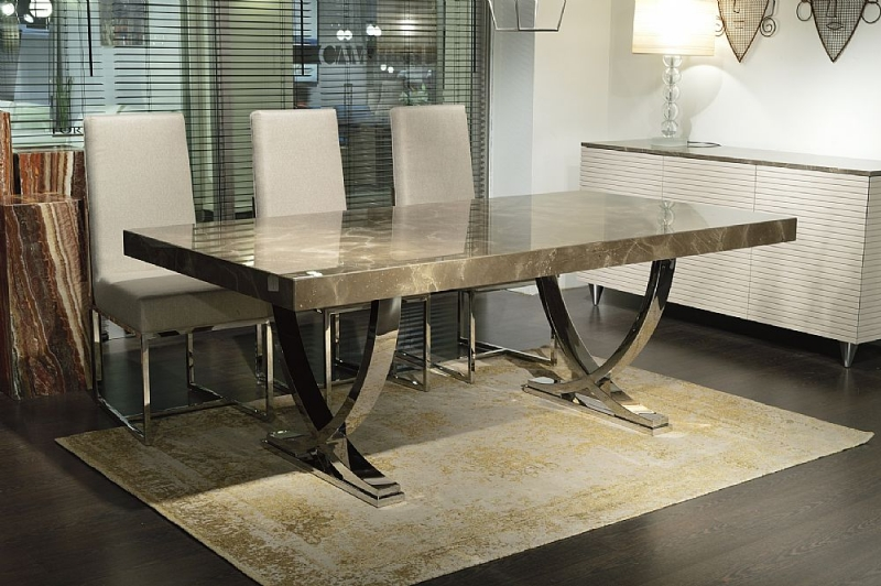 Stone International Deco Boxed Edge Marble Dining Table with Polished Stainless Steel Base