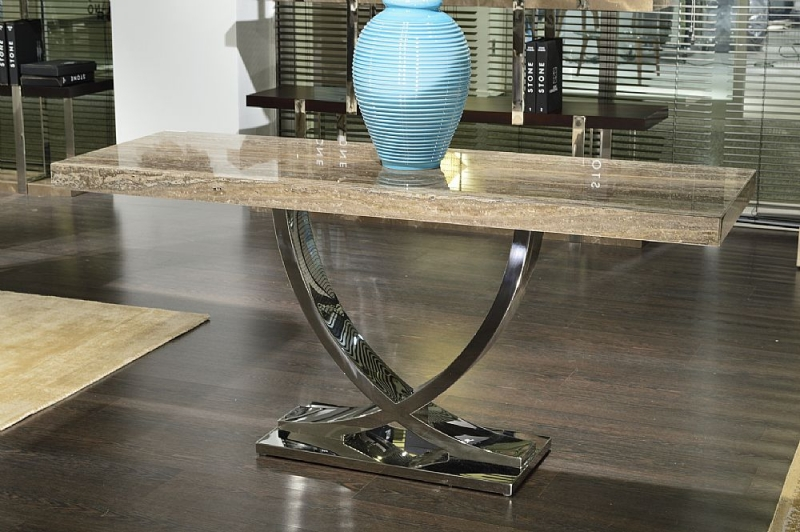 Stone International Deco Boxed Edge Marble Console Table with Polished Stainless Steel Base