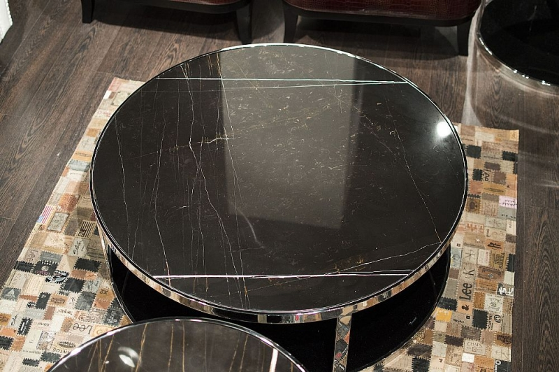 Stone International Elba Black Marble Round Coffee Table with Stainless Steel Base