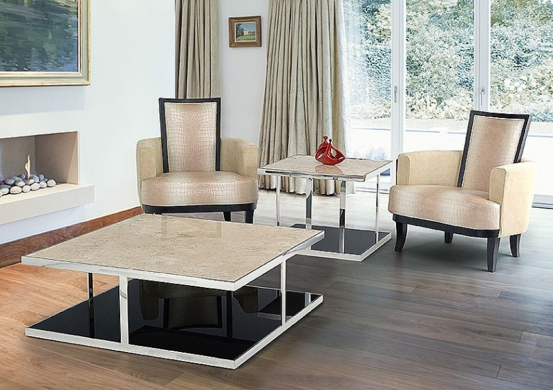 Stone International Elba Black Marble Square Coffee Table with Stainless Steel Base