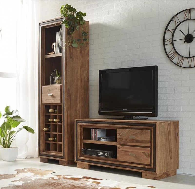 Indian Hub Jodhpur Sheesham 2 Drawer TV Video Cabinet