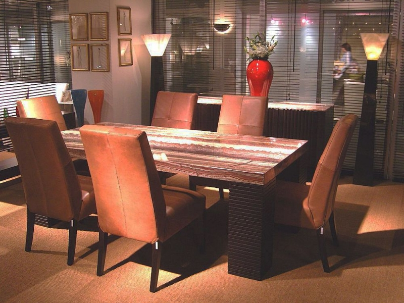 Stone International Espresso Marble Rectangular Large Dining Table with Wenge Wooden Legs