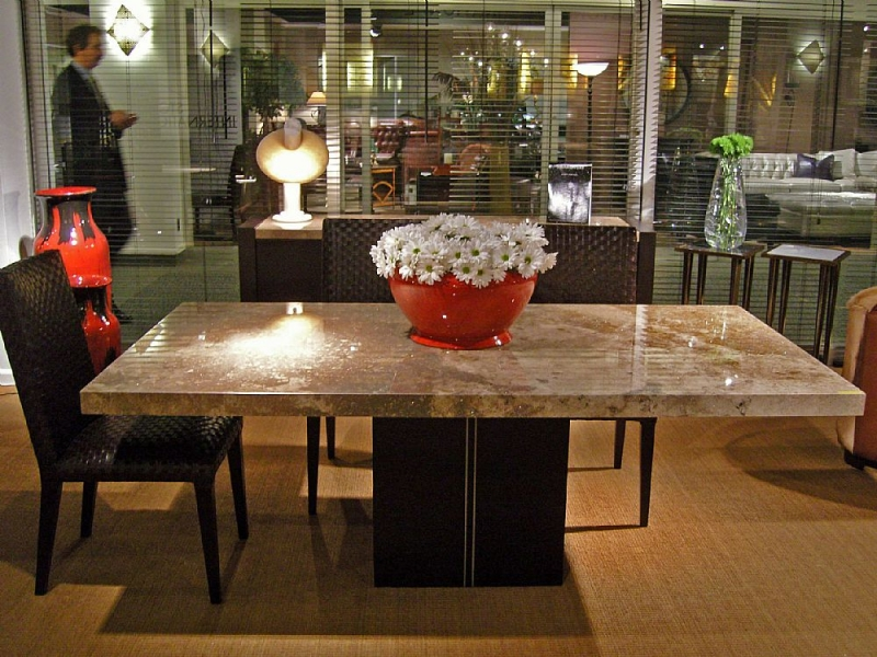Stone International Florence Marble Rectangular Dining Table with Wooden Base