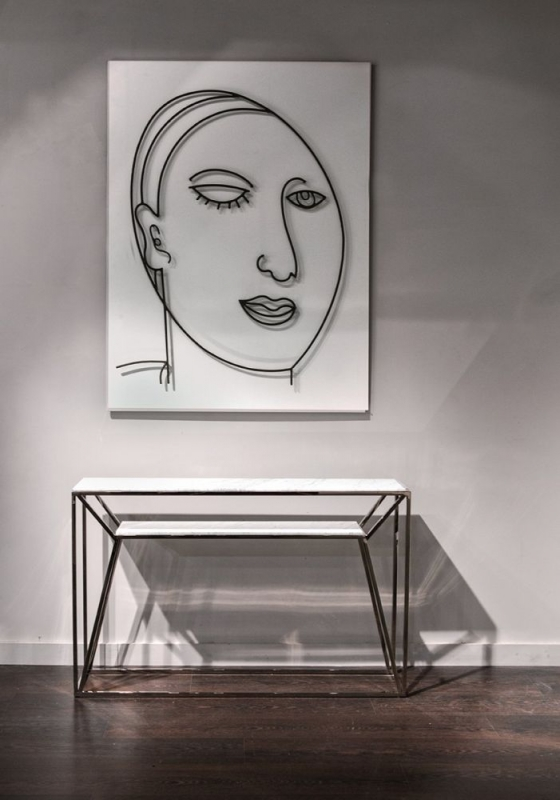 Stone International Ginza Marble and Metal Console Table