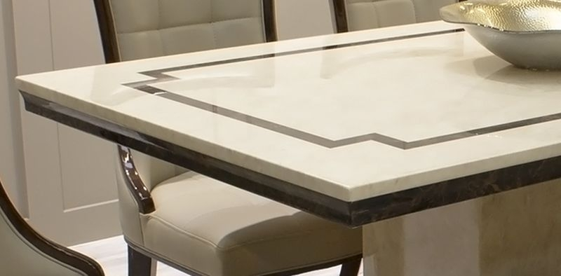 Vida Living Alfredo 160cm Beige Marble Dining Table