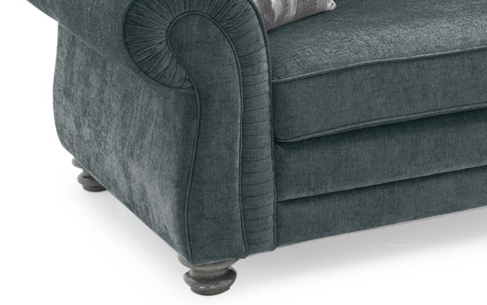 Vida Living Hollins Charcoal Fabric 3 Seater Fixed Sofa with 2 Scatter Cushions
