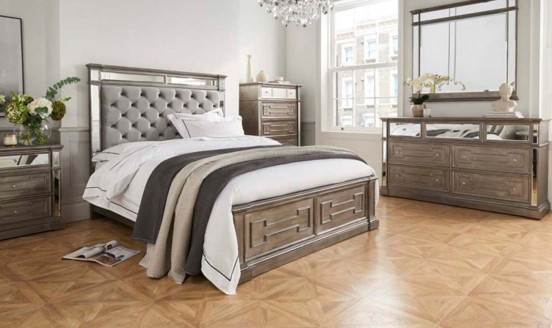 Vida Living Ophelia 4+3 Drawer Dressing Chest with Silver Mirror Panel
