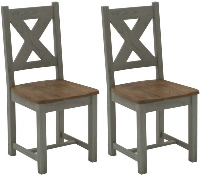 Vida Living Monroe Dining Table with Chairs and Bench - Oak and Grey Painted