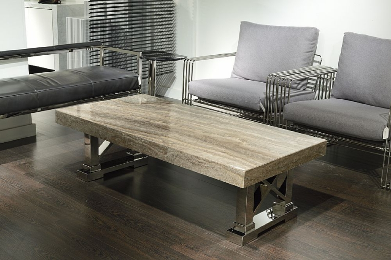 Stone International Impero Boxed edge Marble Occasional Table with Stainless Steel base