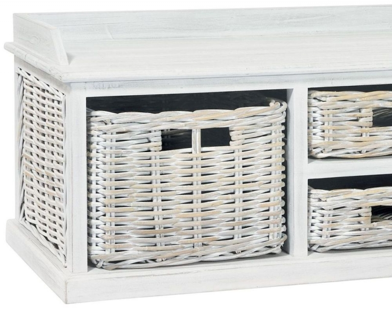 Rowico Maya Rattan White Wash 4 Basket Low Storage Unit
