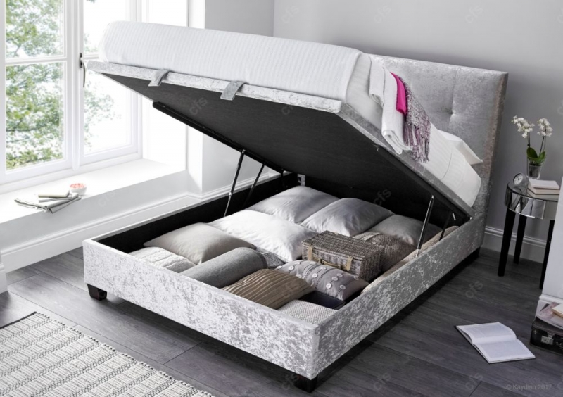 Kaydian Walkworth Fabric Ottoman Storage Bed - Crushed Velvet Silver
