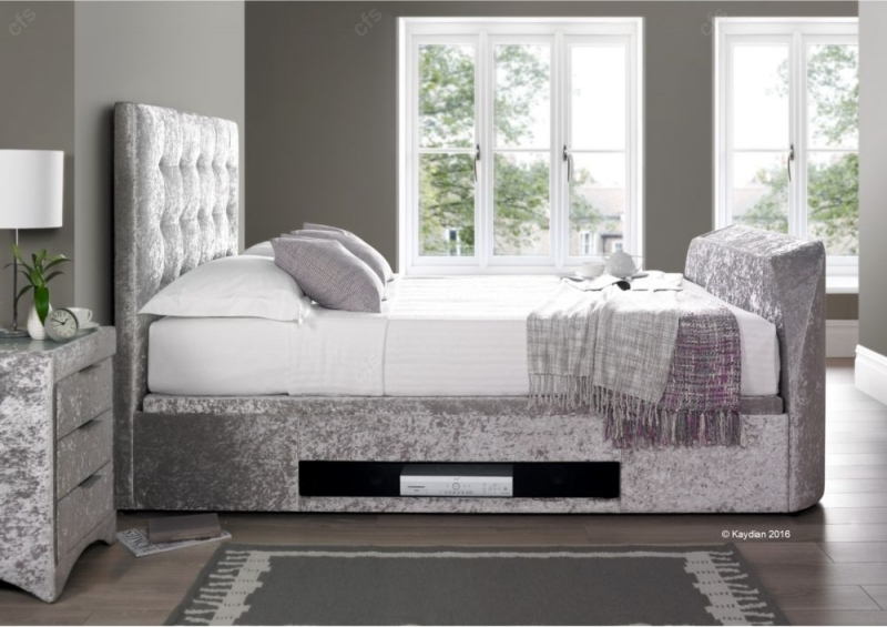 Kaydian Barnard Fabric Ottoman Storage TV Bed - Silver Crushed