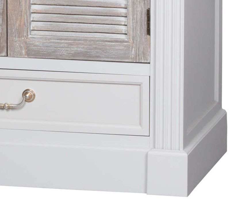 Hill Interiors Liberty White Painted Louvred Tall Cabinet