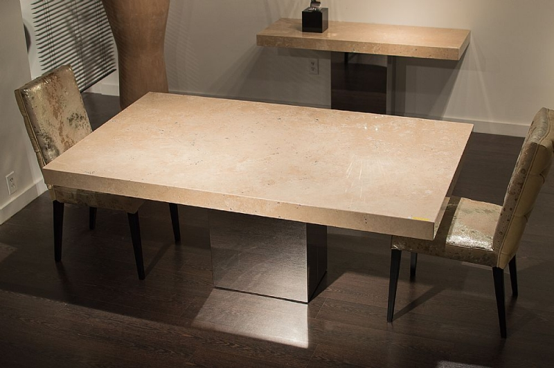 Stone International Manhattan Boxed Edge Marble Rectangular Dining Table with Stainless Steel Base
