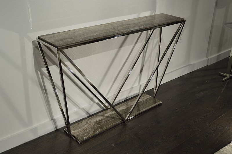 Stone International Spyder Marble and Glass Console Table with Polished Stainless Steel