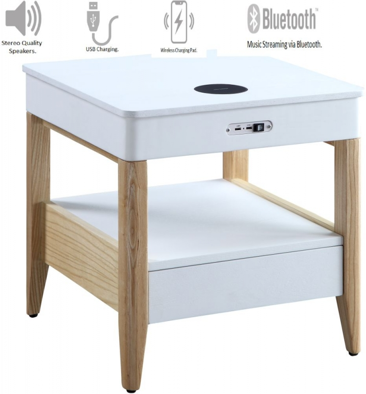 Jual San Francisco White Ash Square Bedside Cabinet with Bluetooth Speakers - JF402