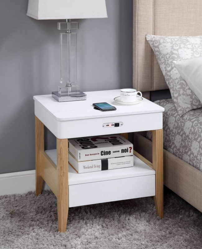 Jual San Francisco White Ash 1 Drawer Square Bedside Cabinet with Bluetooth Speakers - JF402
