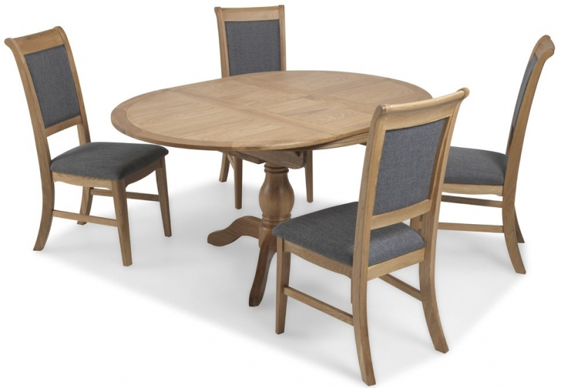 Georgina Natural Oak Round Extending Dining Table - 110cm-150cm