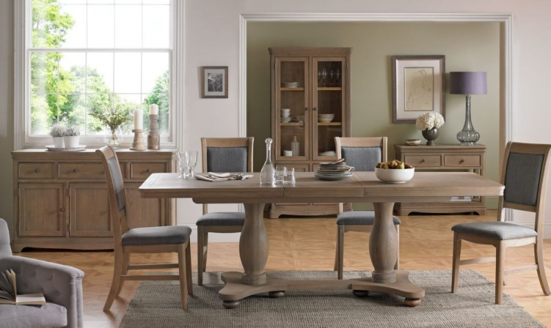 Georgina Grey Washed Oak Double Pedestal Rectangular Extending Dining Set with 4 Upholstered Chairs - 180cm-230cm