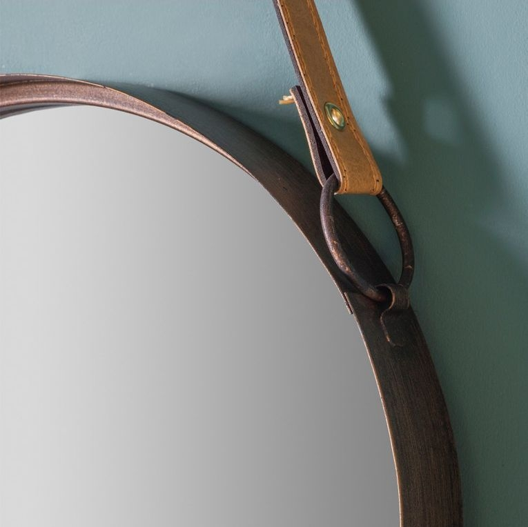 Gallery Direct Marston Bronze Faux Leather Hanging Strap Round Mirror (Set of 2) - 40cm-30cm