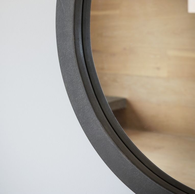Gallery Direct Garfield Faux Concrete Resin Round Mirror - 61cm x 61cm