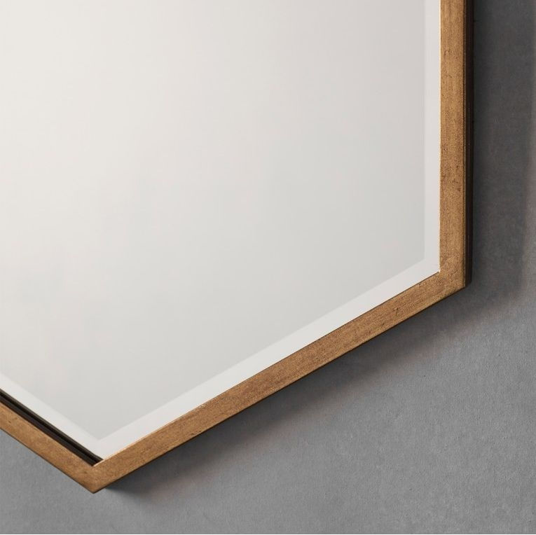 Gallery Direct Helston Hexagon Mirror - Antique Gold 60cm x 90cm
