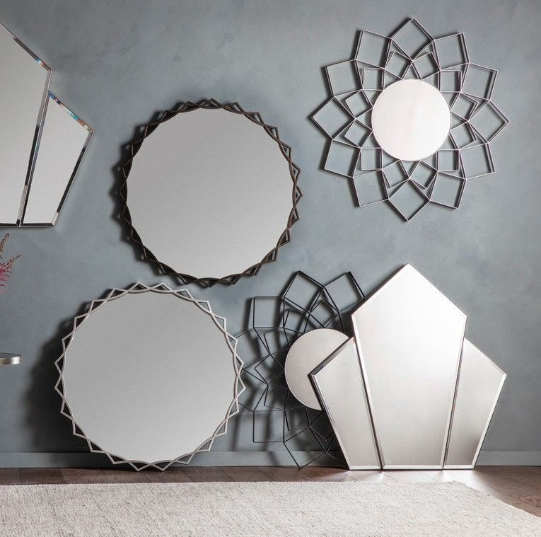 Gallery Direct Attika Black Round Mirror - 100cm x 100cm