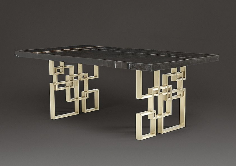 Stone International Windows Marble Rectangular Dining Table with Satin Brass Base
